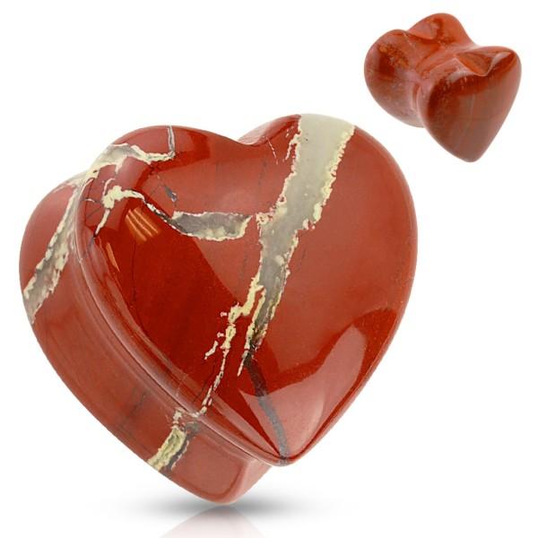 Halbedelstein Flesh Plug Herz Rot