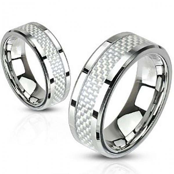 Ring Silber weiß Kohlefaser Edelstahl