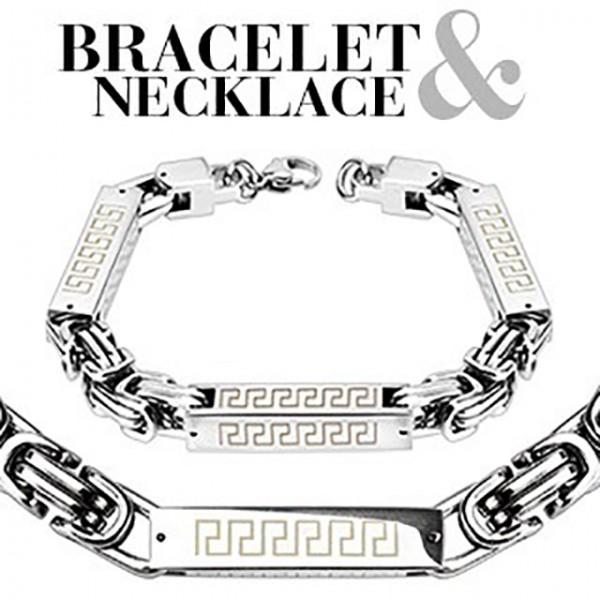 Quadrat Zylinder Tribal Kettenglied Edelstahl Armband & Halskette Combo Set