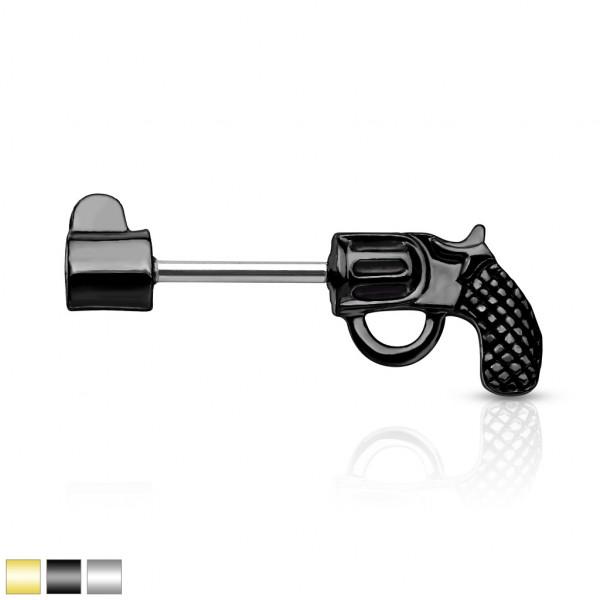 Revolver Pistole Nippelpiercing Hantel Barbell