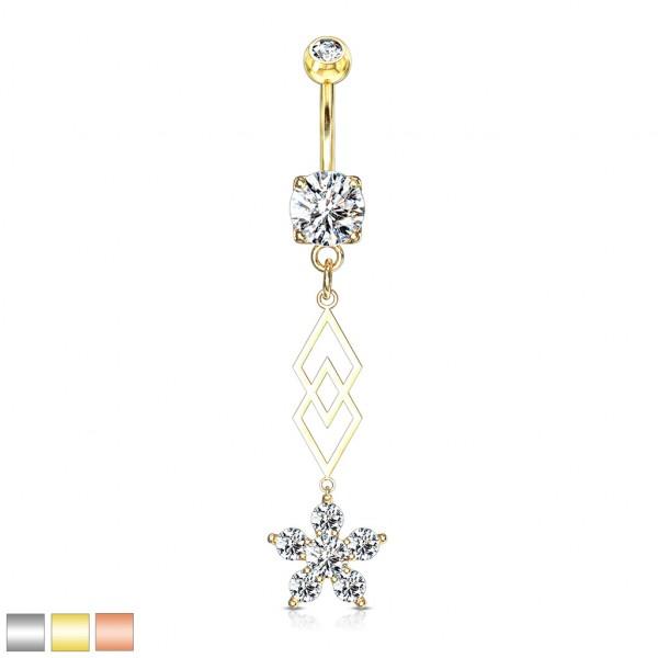 sechs Kristall Blumen und zwei überlappende Diamanten hängend Bauchnabelpiercing