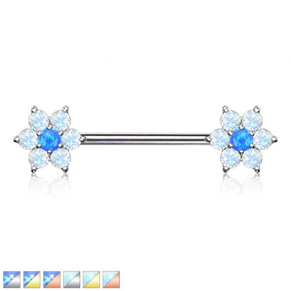 Opale Blütenblätter mit Opaler Mitte an beiden Enden Hantel Nippelpiercing