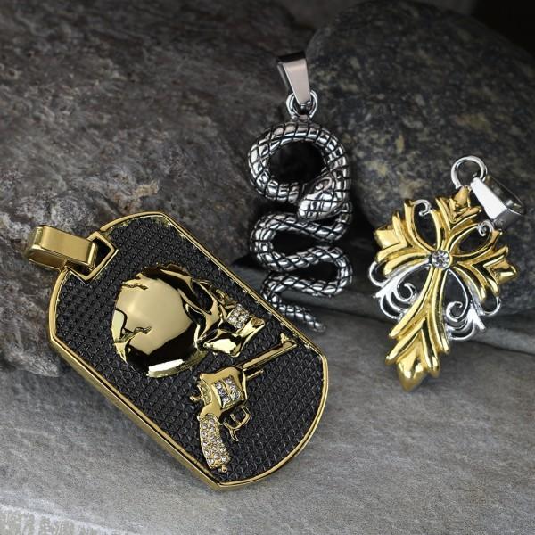 Hundemarke Totenkopf und Revolver Gold Carbonfaser Anhänger Kette 316L Stahl