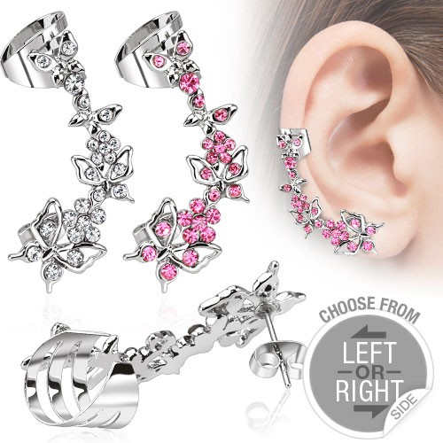 Blume Zirkonia Helix Ohrring Fake Piercing Ear Cuff Stecker