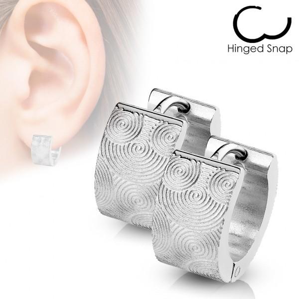 ein Paar Chirurgenstahl - Ohrring mit mattes Stahl Rillen Spirals