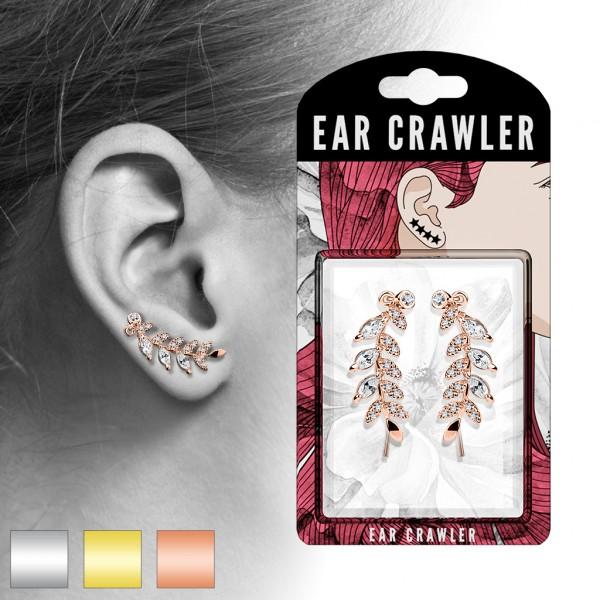 1 Paar Ear Crawler Zirkonia Paved Blatt Ear Climber
