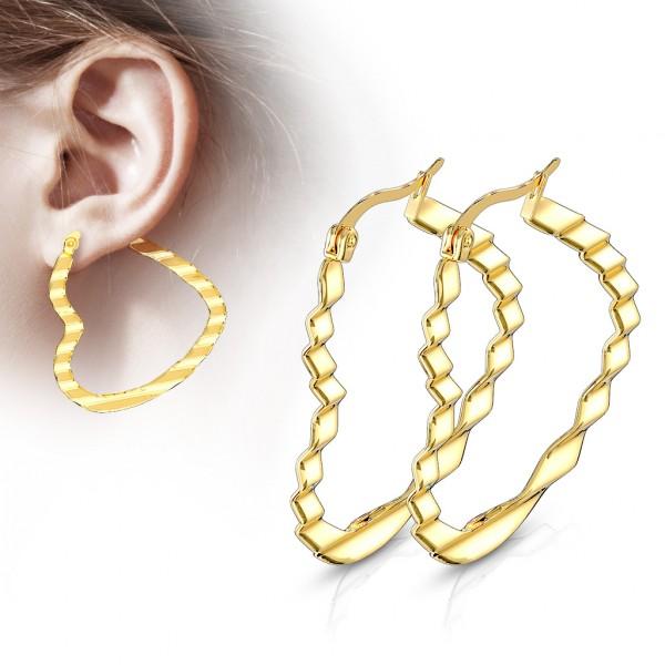 ein Paar Ohrringe mit Wellenmuster in Herzform, 316L rostfreier Stahl aus Gold