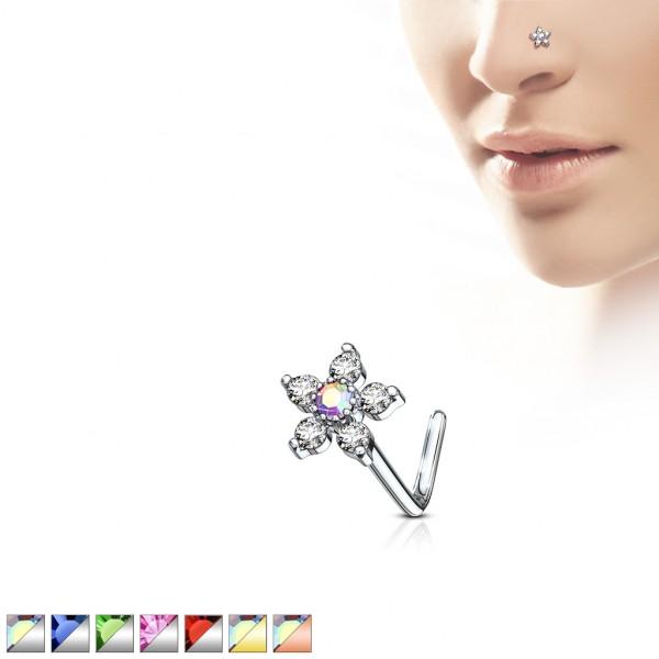 Blume Nasenring Nasenstecker Nasenpiercing L-Form 316L Stahl