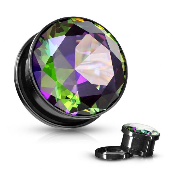 Buntglas Kristall Set schwarzes PVD Flesh Tunnel mit Gewinde Plugs