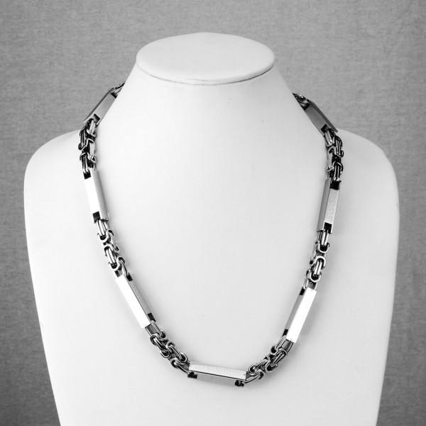Edelstahl Quadrat Zylinder Tribal Kettenglied Halskette