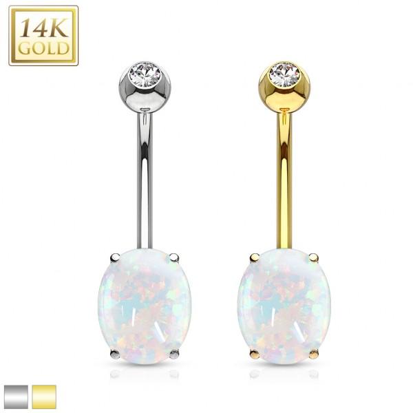 14 Karat Gold Opal Bauchnabelpiercing