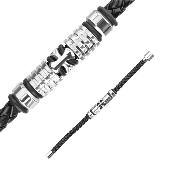 Kreuz Bolo Strick mit magnetischem, rostfreiem Stahl Verschluss, Lederarmband