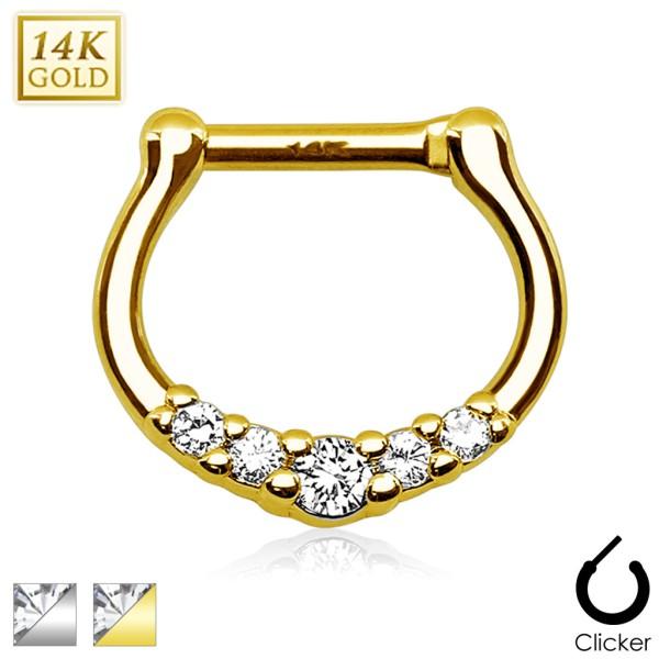 Zirkonia D-Form Cartilage Tragus Piercing 14 Karat Gold