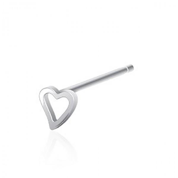 Herz Silber Nasenpiercing 316L Chirurgenstahl