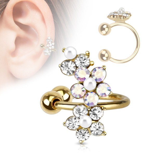 Blume Gold Cartilage Tragus Piercing Fake Piercing
