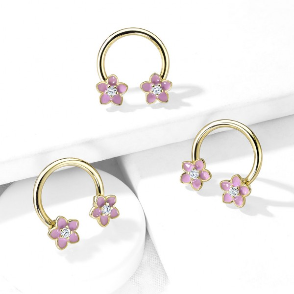 Hufeisen Piercing mit pinken Emaille Blumen Kristalle in der Mitte