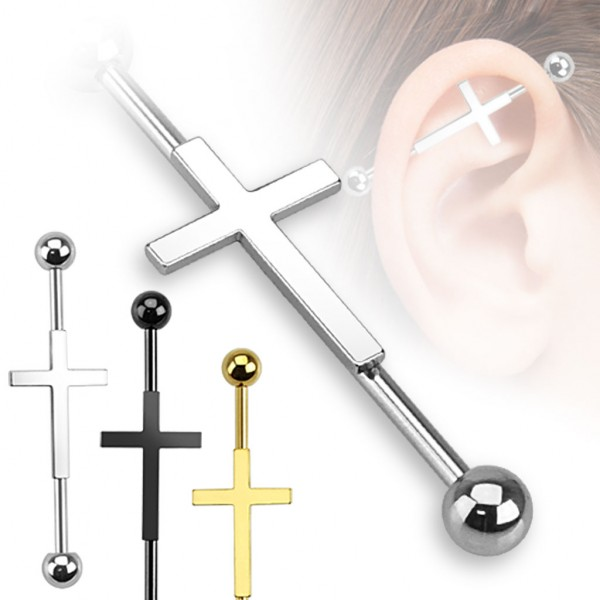 Kreuz Industrial Surface Bar Piercing Chirurgenstahl Kugel Gold Schwarz 1,2mm x 38mm x 5mm