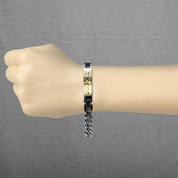 mittelalterliches Kreuz auf Gold Karo Ring 316L Chirurgenstahl Kette Armband