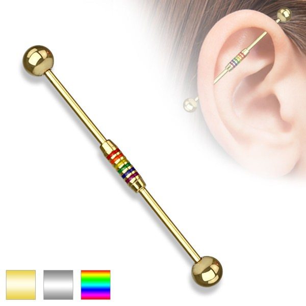Regenbogen Industrial Surface Bar Piercing Chirurgenstahl Kugel Gold Schwarz 1,6mm x 38mm x 5mm
