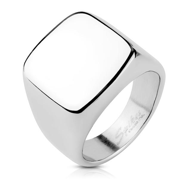 Ring Signet quadratisch silber, Edelstahl
