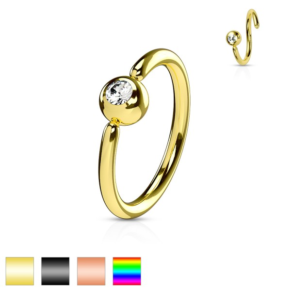 Fixierte Kugel mit Zirkonia biegbarer Ring Ohrpiercing Conch Septum Helix Tragus Daith Orbital