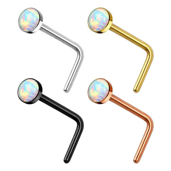 4 Stück Opal Nasenpiercings IP Plattierung Stab L Form