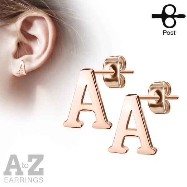 Ohrringe Ohrstecker Paar Buchstaben Alphabet Rosegold 316L Stahl