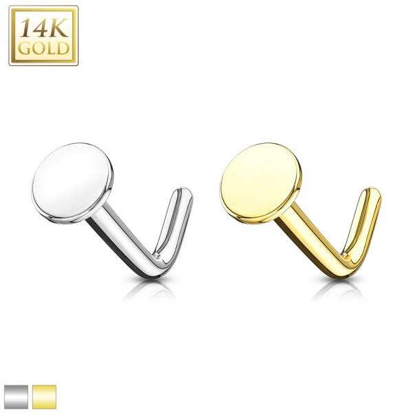 3mm Flache Scheibe Nasenpiercing 585 Echtgold 14 Karat L-Form