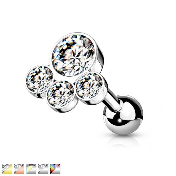 Drei Kristalle 316L Cartilage Stud Barbell