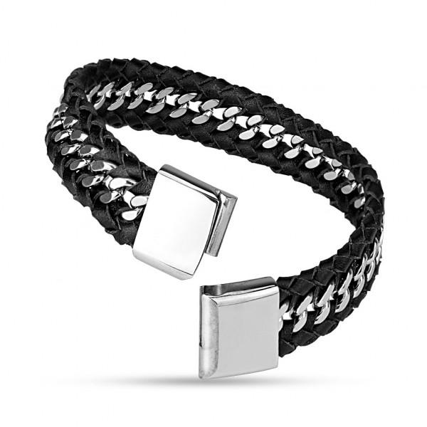 Lederarmband Schwarz Stahl Silber gravierbar Verschluss