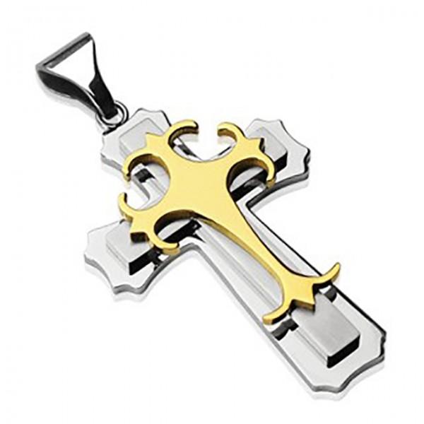 Kreuz Silber mit gothic Kreuz Gold Anhänger Kette 316L Stahl