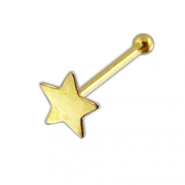 Nasenring Stern Stab Gold 14 Karat Zirkonia Nase Piercing Echtgold 585