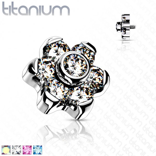 Blume Kristall Aufsatz für Piercing Internally Threaded Gewinde Top Ends Labret Dermal Barbell CBR T
