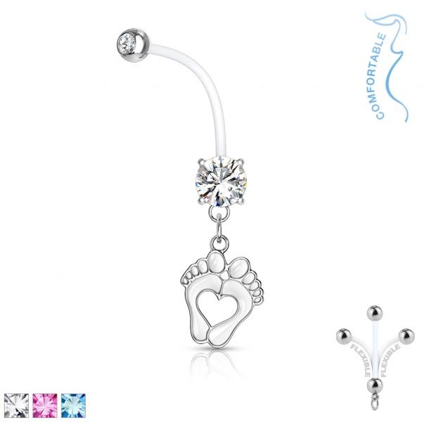 runder Kristall mit Fassung mit Herz Babyfüßen hängend schwangerschafts- Bauchnabelpiercing