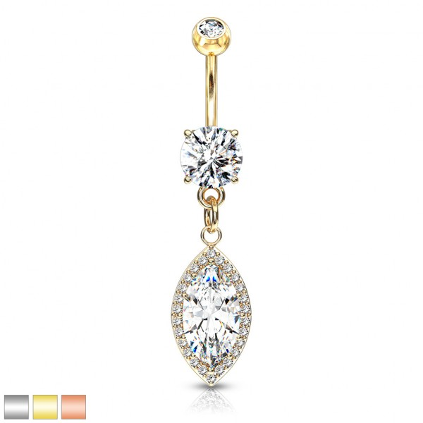 runder Kristall mit großen Marquise Kristallen hängend Bauchnabelpiercing