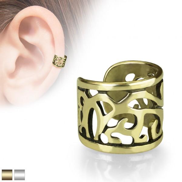 Verzierungen Helix Fake Piercing Ohr Cuff alt Gold Silber