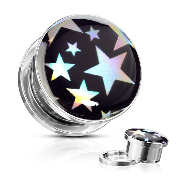 Sterne Hologramm Screw Fit Tunnel Plug
