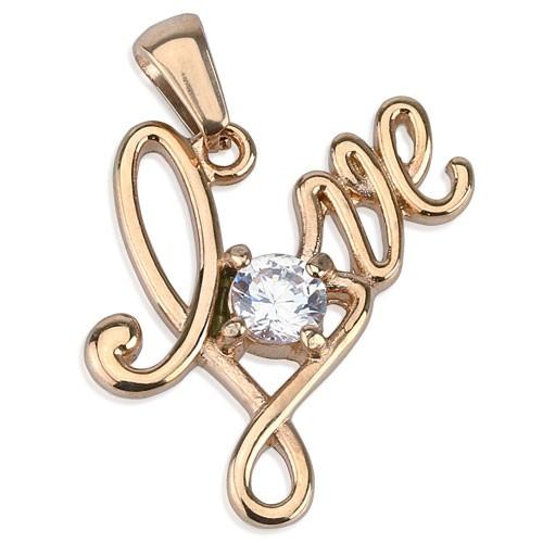 """""""Love"""" Anhänger Rosagold Diamant 316L Stahl"""