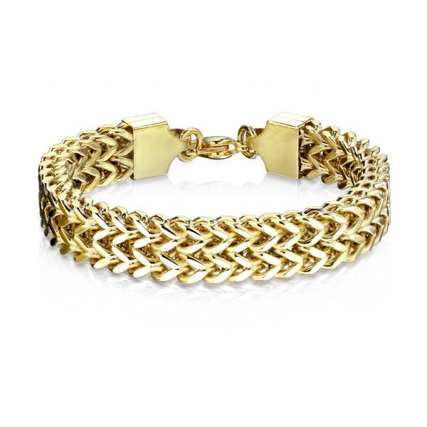 Gold, doppelte Weizenkette, rostfreies Stahl, Armband