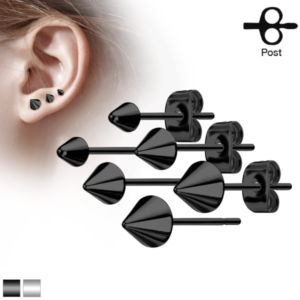 Ohrringe Ohrstecker Paar Kegelförmig Spike Schwarz Stahl