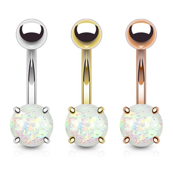 3 Stück Set Bauchnabelring Opal Glitzer