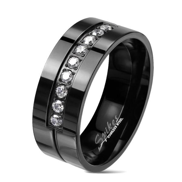 Ring 9 Kristalle Schwarz Edelstahl