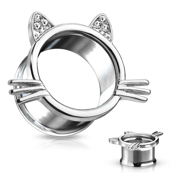 Katze mit Schnurrhaaren Kristall verzierte OhrenDouble Flare Tunnel