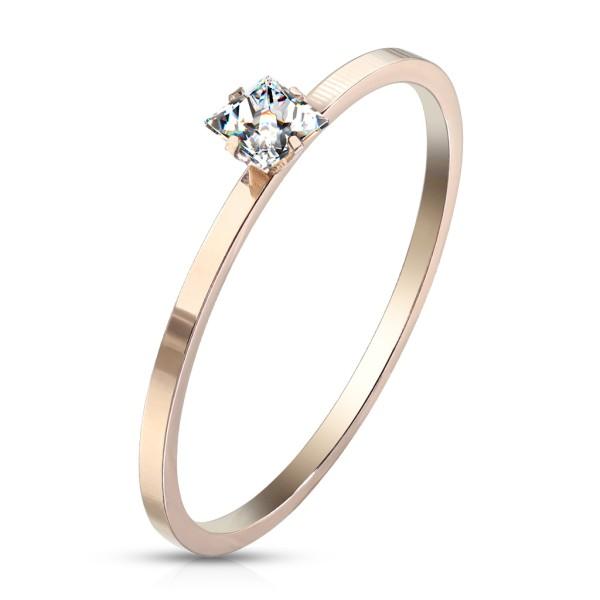 Kristall, Verlobungsring Rosegold, Edelstahl