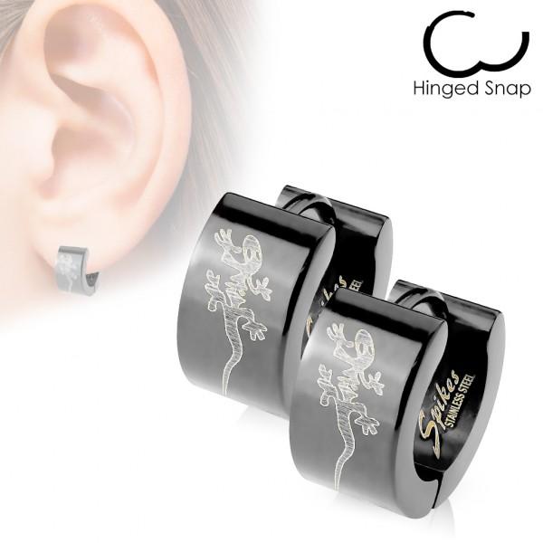 ein Paar Ring 316L Chirurgenstahl Schwarz Scharnier - Breite Ohrring mit Tribal Gecko