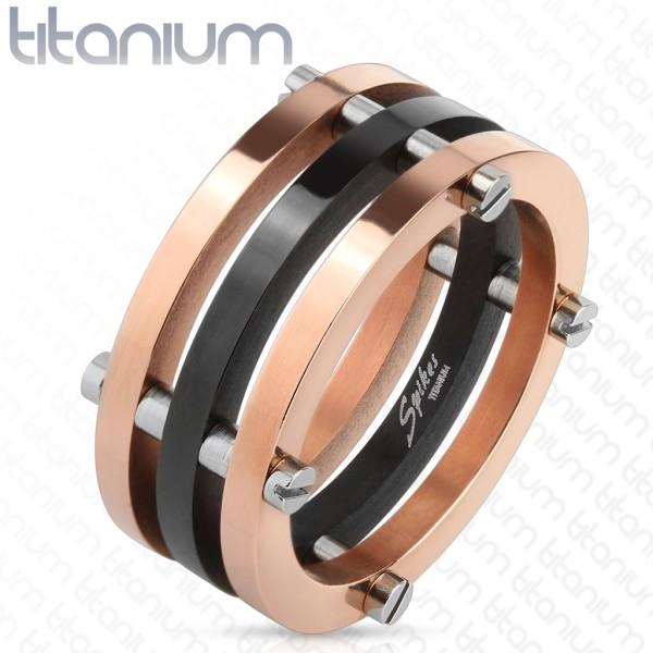 Ring schwarz rose gold Schrauben Titan