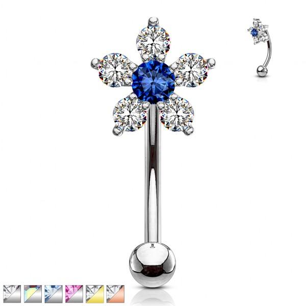 Blume 6 Kristalle Augenbrauenpiercing gebogenes Hantel Barbell