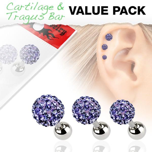3er Pack Ferido Kugel Cartilage Tragus Piercing violett