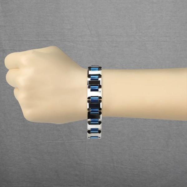 Heavy Breite H mit blau plattiert Kettenglieder Wolfram Karbid Armband