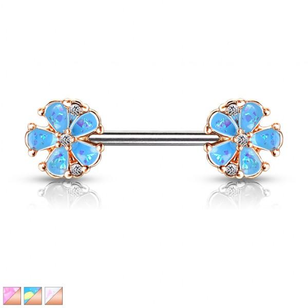 Blumen mit glitzernden Opalsteinen an beiden Enden Roségold beschichtet Nippelpiercing Hantel Barbel